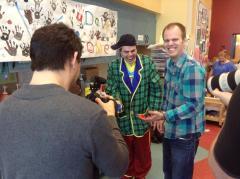 Dave Gunning clowning around with Buddington.
